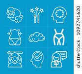 outline people 9 vector icons...