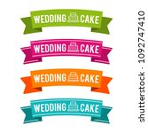 colorful wedding cake ribbons.... | Shutterstock .eps vector #1092747410