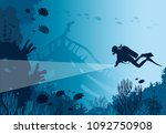 silhouette of scuba diver with... | Shutterstock .eps vector #1092750908