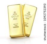 gold ingot isolated on a white. ...   Shutterstock . vector #1092752393