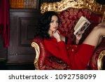 portrait of hot haired girl in...   Shutterstock . vector #1092758099