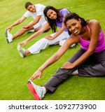 group of people exercising... | Shutterstock . vector #1092773900