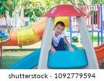 cute asian child having fun at... | Shutterstock . vector #1092779594