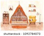 hand painted watercolor sketch... | Shutterstock . vector #1092784073