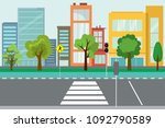 empty city street trees and...   Shutterstock .eps vector #1092790589
