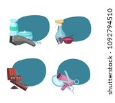 vector set of stickers with... | Shutterstock .eps vector #1092794510
