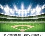 baseball stadium with neon... | Shutterstock .eps vector #1092798059
