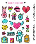 doodles cute elements. color... | Shutterstock .eps vector #1092802328