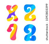 psychedelic font with colorful...   Shutterstock . vector #1092803399