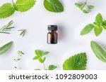 bottle of essential oil with... | Shutterstock . vector #1092809003