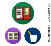 restaurant and bar flat icons... | Shutterstock .eps vector #1092809504