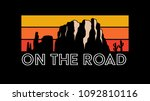 on the road  road trip  slogan  ... | Shutterstock .eps vector #1092810116
