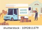 moving truck vector cartoon... | Shutterstock .eps vector #1092811379