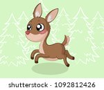 cute jumping cartoon deer  | Shutterstock .eps vector #1092812426