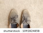 top view old brown leather... | Shutterstock . vector #1092824858