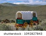oregon trail covered wagons... | Shutterstock . vector #1092827843