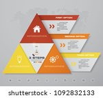3 steps pyramid with free space ... | Shutterstock .eps vector #1092832133