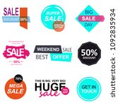 set of flat design sale... | Shutterstock .eps vector #1092835934