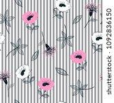 trendy seamless garden flowers  ... | Shutterstock .eps vector #1092836150
