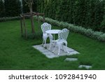 vintage chair and table white ... | Shutterstock . vector #1092841940