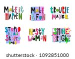 trouble maker shirt quote... | Shutterstock .eps vector #1092851000