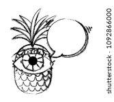 grunge pineapple fruit with eye ... | Shutterstock .eps vector #1092866000