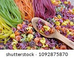 Colored Pasta Texture Background