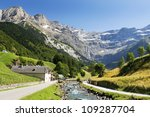 landscape with a mountain river in the French Pyrenees