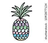 doodle tropical pineapple fruit ... | Shutterstock .eps vector #1092877124