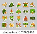 bankruptcy sticker icons set.... | Shutterstock .eps vector #1092880430