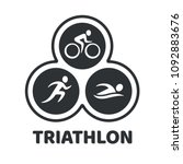 triathlon event logo. swim  run ... | Shutterstock .eps vector #1092883676