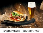 closeup of a burger with meat... | Shutterstock . vector #1092890759