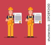 builder holds contract points...   Shutterstock .eps vector #1092892430