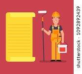 builder stands near paper list...   Shutterstock .eps vector #1092892439
