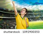 girl in stadium cheering for... | Shutterstock . vector #1092900353