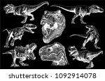 graphical set of dinosaurs... | Shutterstock .eps vector #1092914078
