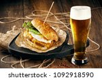 closeup of a burger with meat... | Shutterstock . vector #1092918590