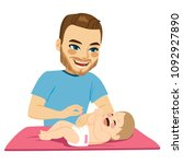 young father changing diaper... | Shutterstock .eps vector #1092927890