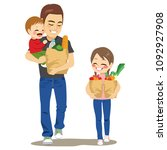 father walking with kids... | Shutterstock .eps vector #1092927908