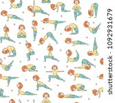 yoga seamless pattern with...   Shutterstock .eps vector #1092931679
