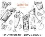 alcoholic cocktails hand drawn... | Shutterstock .eps vector #1092935039