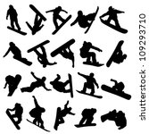 20 snowboarders outlines on a... | Shutterstock .eps vector #109293710