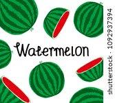 watermelon icon  vector fruit... | Shutterstock .eps vector #1092937394