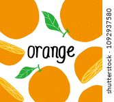 orange fruit with leaf and... | Shutterstock .eps vector #1092937580