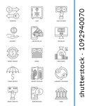 banking icons set. thin line... | Shutterstock . vector #1092940070