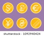 coins icons set. flat... | Shutterstock . vector #1092940424