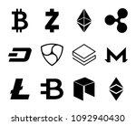 cryptocurrency logo set  ... | Shutterstock . vector #1092940430