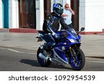 Small photo of Hastings,East Sussex/UK 07/05/18 Bike 1066 the annual May Day bike run to Hastings. A blue Yamaha motorcycle arrives on the seafront to join the thousands of other motorbikes