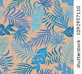 tropical background with palm... | Shutterstock .eps vector #1092957110