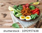 buddha bowl  healthy and...   Shutterstock . vector #1092957638